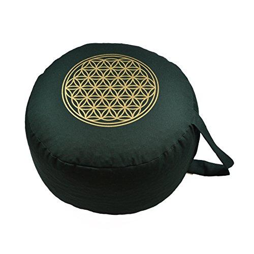 Yogakissen Meditationskissen BIO Dinkelspelz Premium Bezug OEKO TEX zertifiziert waschbar - Blume des Lebens Druck GOLD Ø 28 cm Höhe 16 cm als...