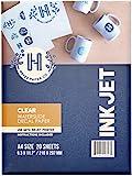 Hayes Paper Co. Carta per Decalcomania ad Acqua Inkjet Trasparente 20 Fogli Premium con Trasferimento ad Acqua Trasparente, misura A4