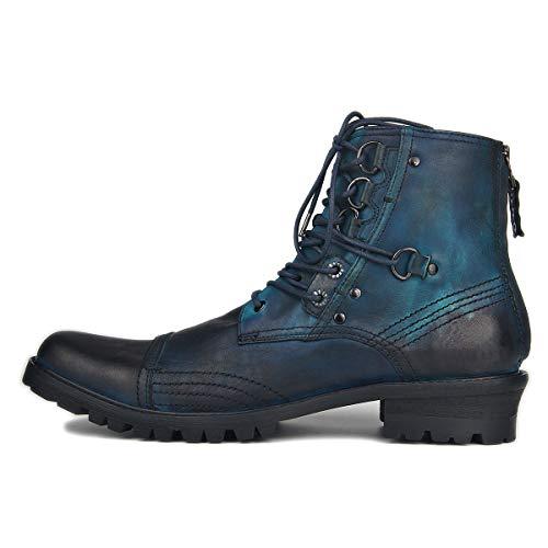 Suetar Heren Steampunk motorlaarzen Chukka boots van echt leer voor de herfst en winter Grote cowboylaarzen met westernhak JY0051