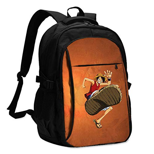 Anime ONE PIECE Monkey D. Luffy Laptop Backpack with USB Charging & Headphone Port Men Women Large Lightweight Bag for School/Work/Travel.