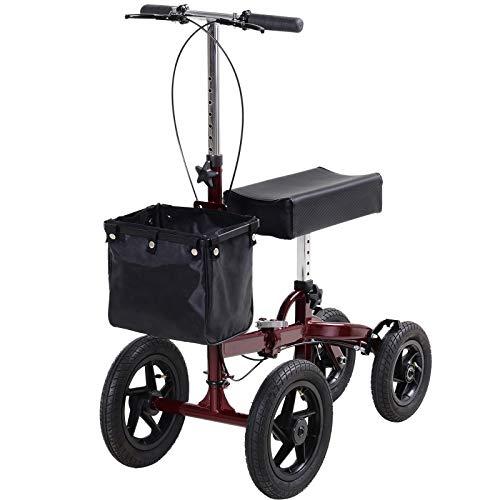 HOMCOM Knee Scooter with Basket Storage, Walker Mobility During Medical Rehabilitation & Injury, Folding for Transport, Red