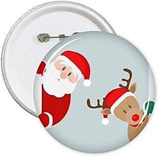DIYthinker Père Noël Elk Peep Joyeux Noël Bonne année Fête Motif Illustration ronde Pin Badge Bouton 5Pcs M