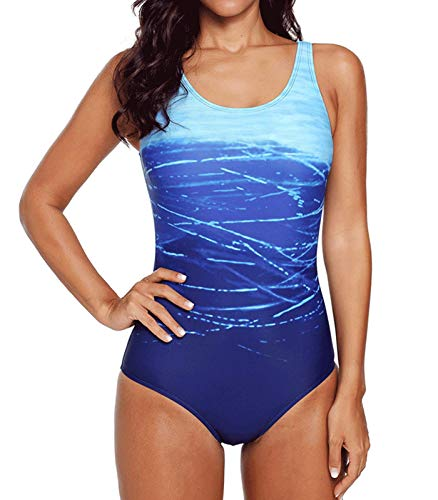 DURINM Badeanzug Damen Push up Bademode Damen Badeanzug Farbverlauf Kreuz Rückseite Einteiler Swimsuit
