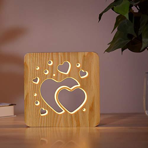Love Heart Shaped Wood Bedside Lamp,Coopark 3D LED Optical Night...