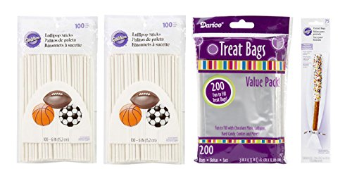 Pop Sticks for Crafts & Small Treat Bags & Pretzels Rods Bags for Making Mini Cake Pops - 200 Sticks, 200 Treat Bags & 75 Pretzel Bags Bundle
