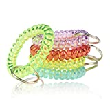BIHRTC 5PCS Colorful Wrist Coil Keychain Plastic Coil Wristband Stretch Spring Spiral Coil Bracelets Key Chain Wrist Band Key Ring Wrist Key Holder for Gym Pool ID Badge Sauna Outdoor Activitie
