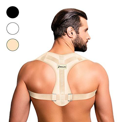 ZEALactive Haltungstrainer zur Haltungskorrektur – elastisch & atmungsaktiv - Geradehalter für eine gesunde & aufrechte Haltung bei haltungsbedingten Rücken & Nackenschmerzen (Beige, S)