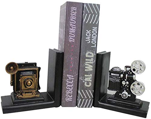 -offsup Bookends Book Organizer Crafts Retro Camera boekensteunen Film Movie Projector Bookend Student Book File Creative thuis studie Decoration Antislip Desk Decoration Gift dljyy