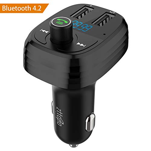 Transmisor FM Bluetooth 4.2 para Coche, Zttopo Reproductor MP3 Mechero Coche y Manos Libres Adaptador de Radio Dual USB