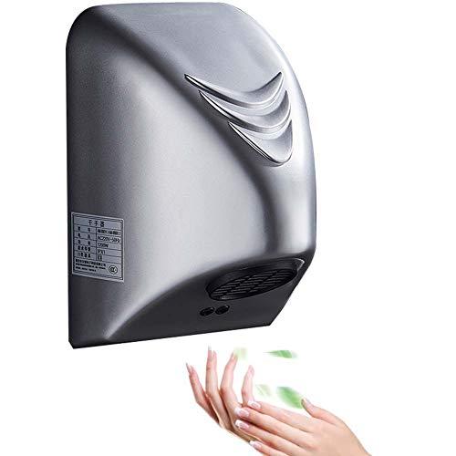 Automatischer Händetrockner Elektrisch Warmluft, 7s Kurze Trocknungsdauer, Geräuscharm, Berührungslos Wandmontage, Kompakter Hochgeschwindigkeits-händetrockner Gewerbe Und/B:Silver