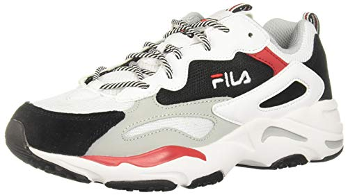 Fila Mens RAY Tracer Sneaker,White/Black/RED,9.5