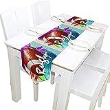 MODORSAN Chemin de Table de Sport de Ballon de Rugby,décoration de Table à Manger de Cuisine de Vacances 13'x70' pour Le réglage de la Table de dîner à la Ferme