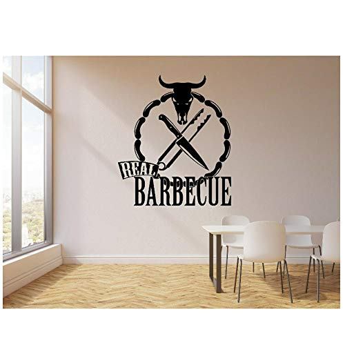 MINGKK Wandaufkleber Restaurant Rinder kopf gekochtes essen Aufkleber Echten Grill Stierkopf Messer Wandaufkleber Abnehmbare Dening Room Decor Wandbild 56X65 cm