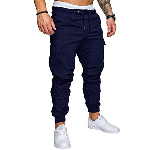 Pantalones Holgados Deportivos EláSticos De Color SóLido para Hombre De OtoñO/Invierno Pantalones De Hombre