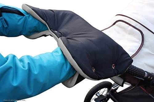ByBUM - Handwärmer, Muff mit Fleece Innenseite, Universalgröße für Kinderwagen, Buggy, Radanhänger, Farbe:Schwarz/Grau