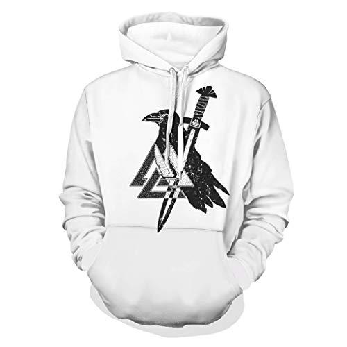 Niersensea Sudadera con capucha para niña y niño, diseño vikingo, con espada y cuervo digital, manga larga, color blanco, talla 5XL