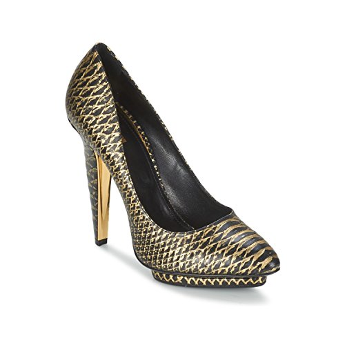 Roberto Cavalli YDS622-UC168-D0007 Pumps Damen Schwarz/Goldfarben - 38 - Pumps