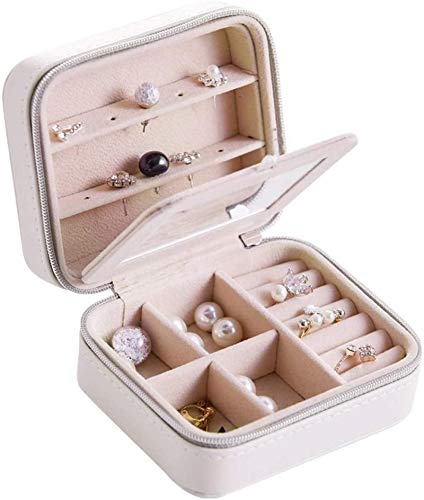 Jewelry Box for Women, Portable Jewelry Box for Women Small Travel Jewelry Storage Box Jewelry Holder for Rings Earrings Necklace Organizer Multipurpose Treasure Chest Trinket
