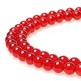 jartc Perline per Braccialetti Energetico Braccialetto Yoga Braccialetto Fai da Te Perle di Pietra Calcedonio Rosso 45 Pezzi, 34CM,8 mm