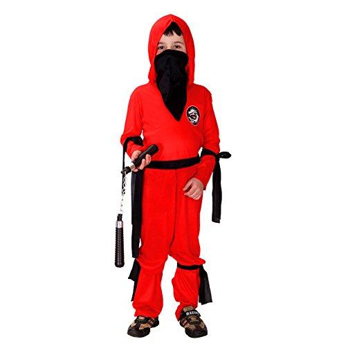 LOLANTA Ninja Warrior Kostüm für Jungen rotes Ninja Kostüm für Kinder Halloween Shinobi Kostüm (8-9 Jahre)