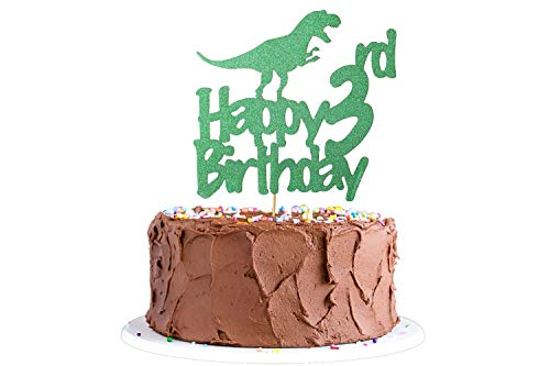 Dinosaur Cake Topper 3rd Birthday, Glittery Happy 3rd Birthday Dinosaur Cake Toppers for 3 Year Old Boys and Kids Roar Jurassic Park Dinosaur Themed Birthday Party Supplies Decorations