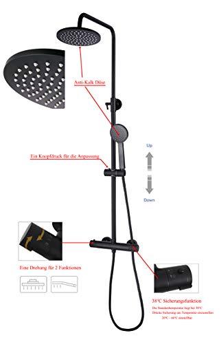 SCHWÄNLEIN Duschsystem mit Thermostat Regendusche Duschset Duscharmatur Duschsäule (Schwarz) (SC01B)