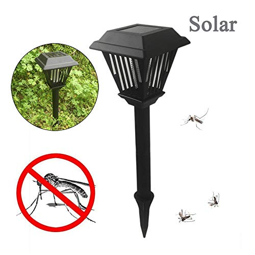 Naiflowers Solar Powered Mosquito Zapper Bug Killer Insect Killing Lamp Indoor Outdoor Ground Backyard Garden Patio Lawn Camping Cordless Solar Powered Pest Light Best Stinger Mosquitoes Moth Fly