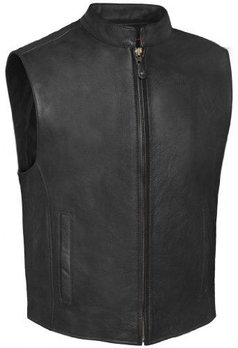 True Element Mens Single Back Panel Leather Motorcycle Club Style Vest w/Concealed Carry Pockets (Black, Size XL)