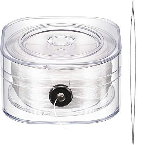 Cuerda Elástica de 0,8 mm Hilo de Abalorios Transparente Estirable con Aguja de Abalorios para Fabricación de Joyería Pulsera, 90 m de Cuerda
