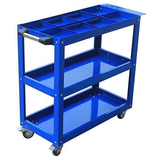 DEE Multifunktions-Einkaufswagen Nutzfahrzeug/Drei-Schichten-Ersatzteile Auto/Hardware-Werkzeuge/mit Trennwand mit Schloss Vier-Runden-Wagen / 80-kg-Lastwagen mit Lagerung