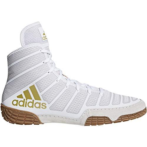 Adidas Men's Varner Wrestling Shoe, White/Matte Gold/Brown, 12.5