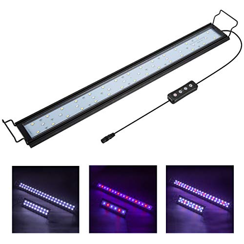 Hygger Aquarium Lighting Lámpara LED para Acuario con Temporizador, Regulable, luz LED con Soporte Ajustable para Plantas de Peces de Acuario de 56-76 cm, 16 W (luz Blanca, Azul y roja)