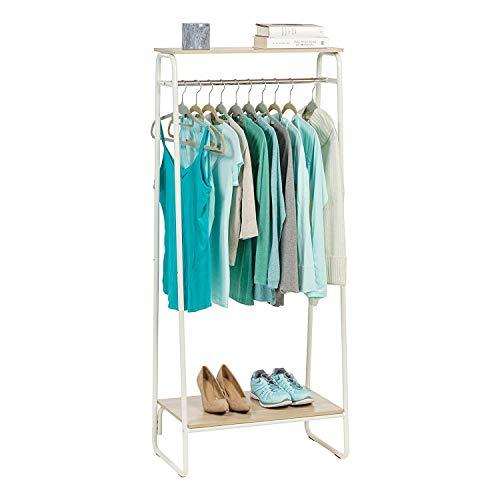 Movian Garment Metal Rack PI-B2 Iris Ohyama-Perchero/Espacio de almacenaje con 2 estanterias de metálico Madera PI-B2-Roble Claro y Blanco, 64 x 40 x 151.2 cm, MDF