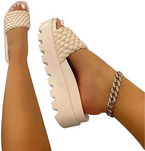 QAZW Zapatillas de Moda para Mujer, Zapatillas de Cuero PU con Correa...