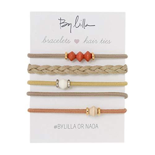By Lilla Limestone Mini Stack Elastic Hair Ties and Bracelets | Set of 5 Hair Tie-Bracelets | Hair Accessories for Women | No Crease Hair Ties & Women's Bracelets (Brown / Gold / Nude / Orange)