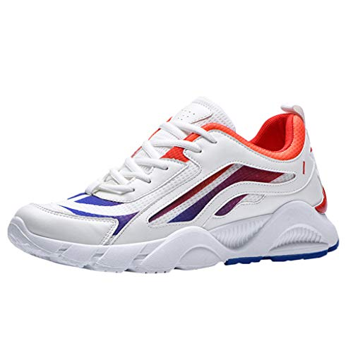 AIni Herren Schuhe Mode Beiläufiges 2019 Neuer Heißer Atmungsaktive Mesh Outdoor Sneakers Schuhe Farblich Passende Wilde Freizeitschuhe Freizeitschuhe Partyschuhe (44,Rot)