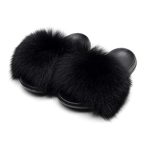 HONGTEYA Real Fox Fur Slides Sandals for Women 20+ Styles Toddler Girls Feather Slip On Summer Furry Slippers Flip Flops Shoes Flats  (11 M US Adult, Black)