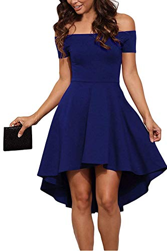Genhoo Women Off Shoulder High Low Elegant Skater Swing Cocktail Dress Wedding Party Prom Dress,X-Large,Navy Blue
