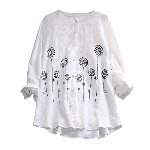 iHENGH Damen Herbst Winter Bequem Lässig Mode Frauen Solide Stickerei Casual Top T Shirt Damen Lose Langarm Top Bluse(2XL,Weiß)