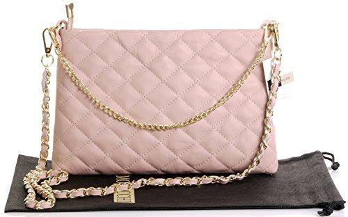 Primo Sacchi Damen Italienisches weiches gestepptes Leder handgemachte schlanke lange und kurze geschnallte Umhängetasche Handtasche Dusky Rosa