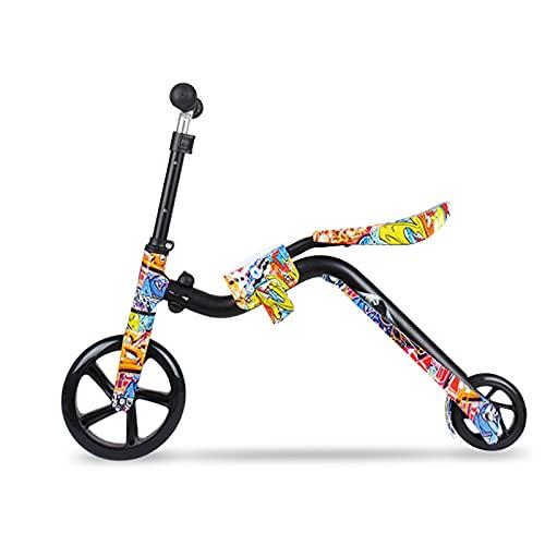 Roeam Patinete 2 en 1 y Bicicleta de Equilibrio para niños Patinete de Ruedas Grandes Patinete Plegable para niños pequeños de 3 a 12 años con Altura Ajustable y Asiento Patinete Ligero