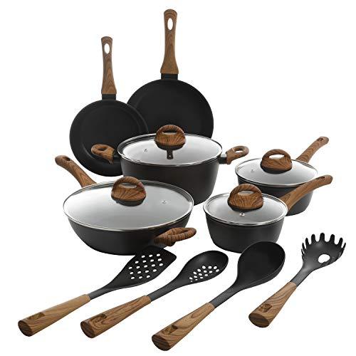 Gibson Tosca Woodlands 14 Piece Aluminum Nonstick Cookware Combo, Matte Black