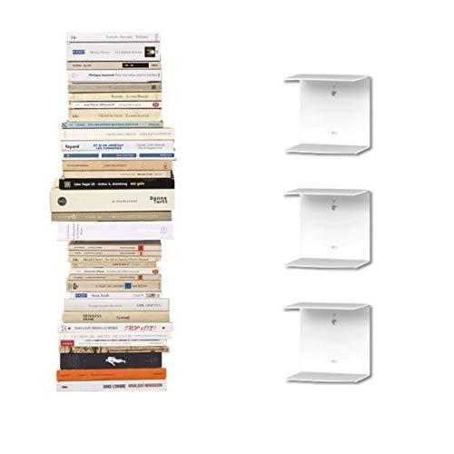 3 Mensole libreria a scomparsa invisibili, colore: Bianco, per mettere i libri in pila (3)