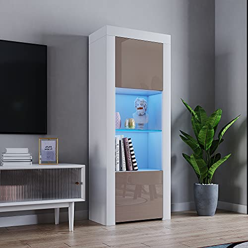 panana 160cm Tall Cabinet Two Door One Glass Shelf Cabinet Sideboard Unit Cupboard Display Brown color