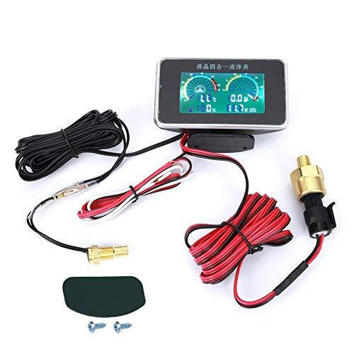 4-en-1 Coche LCD Digital LCD Instrumento, medidor de presión de aceite Voltímetro Medidor de combustible Medidor de temperatura del agua DC 9V-36V