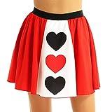 Alvivi Disfraces Fiesta Halloween Mujer Reina de Corazones Falda Corta Estampada Corazón Rojo Falda A-Line de Fiesta Ceremonia Cosplay Rojo Medium