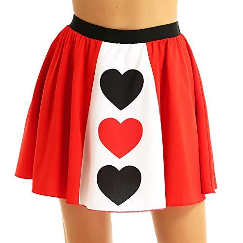 inhzoy Falda Roja para Mujer Chica Disfraz Reina de Corazones Falda Plisada Cintura Elástica Cosplay Falda Fiesta para Halloween Navidad Carnaval Rojo M