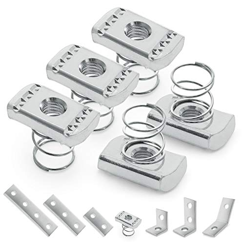 """OhLectric OL-39827 Strut Channel Nut with Short Spring - 3/8-16"""" UNC Threads - 0.37"""" Thickness - Stainless Steel Spring Nut With Zinc Electroplate Finish - Use with 13/16"""" & 1"""" Channels - 5 Pack"""