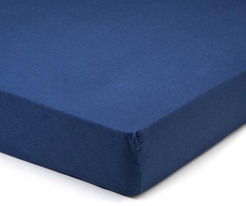 Drap-Housse en Jersey, Coton, Bleu Marine, 90x220-100x220