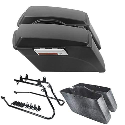 TCT-MT Hard Saddlebags Saddle bag & Conversion Brackets For 1986-2013 Harley Softail Models Heritage Classic FLSTC FLSTF Matte Black